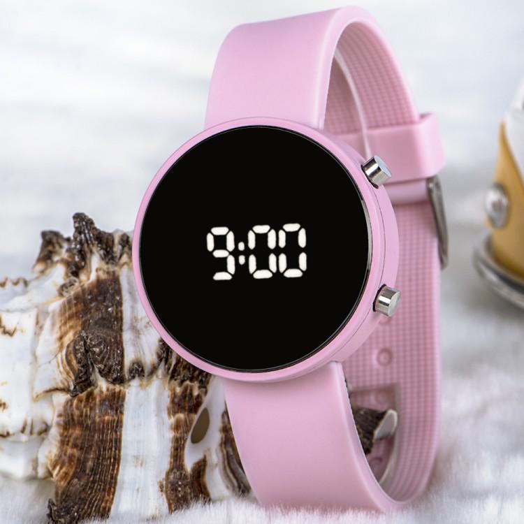Açık Pembe Renk Silikon Kordonlu Led Bayan Kol Saati