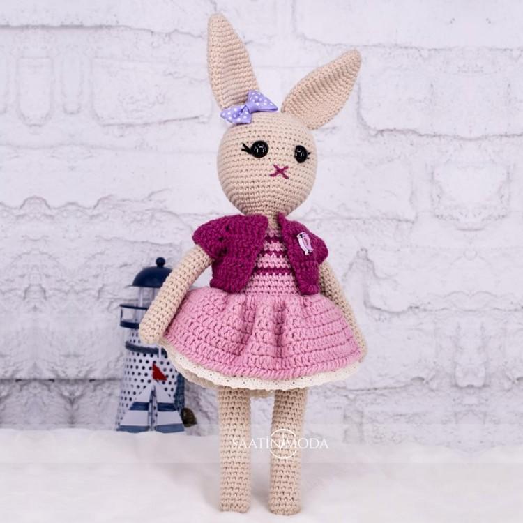 Tavşan Bebek Amigurumi Organik Yıkanabilir El Örmesi Örgü Oyuncak Boyutlar 32cm X 14cm