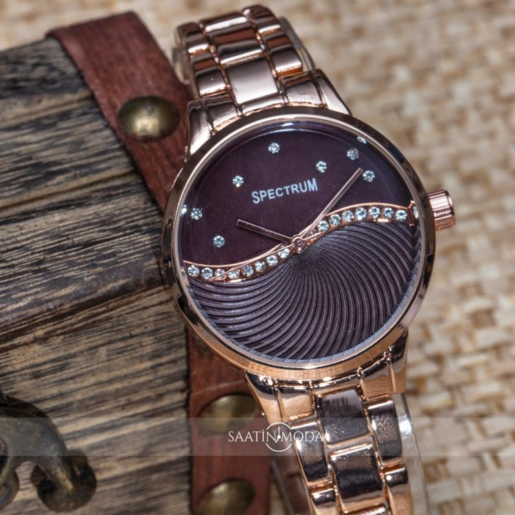 Taşlı Kasa Bakır Renk Çelik Kordonlu Bayan Kol Saati ST-303341