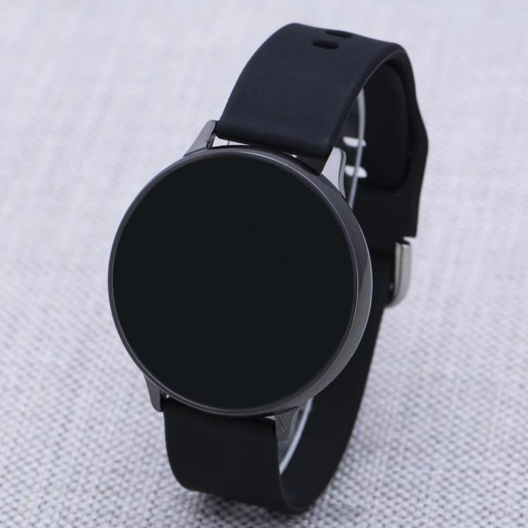 Bay & Bayan Siyah Silikon Kordonlu Dokunmatik Led Ekran Kadın Unisex Saati
