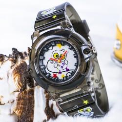 Baykuş Figürlü Füme Renk Silikon Kordonlu Çocuk Kol Saat...
