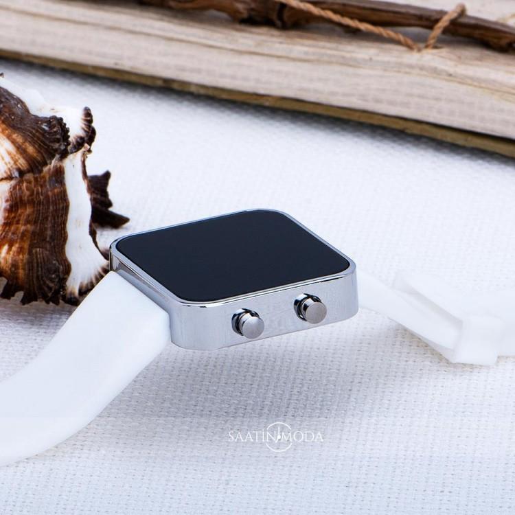 Beyaz Renk Dijital Led Ekran Beyaz Silikon Kordonlu Yetişkin Kız Kadın Unisex Kol Saat ST-303726