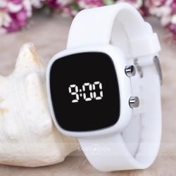 Beyaz Silikon Kordonlu Dijital Led Ekran Kadın Yetişkin Kız Kol Saati ...