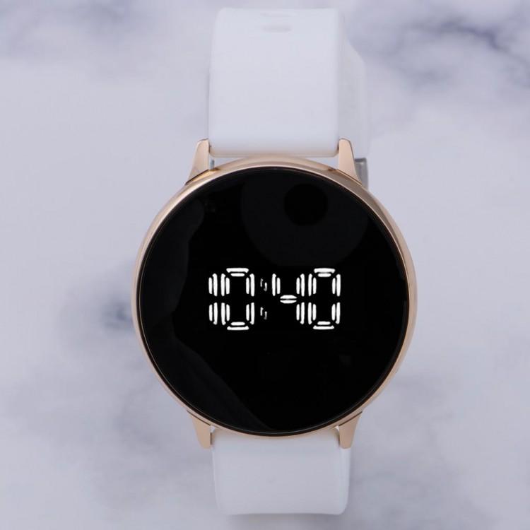 Beyaz Silikon Kordonlu Dokunmatik Led Ekran Unisex Kadın Kol Saati