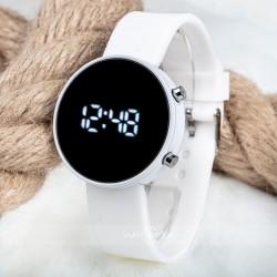 Beyaz Silikon Kordonlu Led Dijital Yetişkin Kız Bayan Kol Saati ST-303...