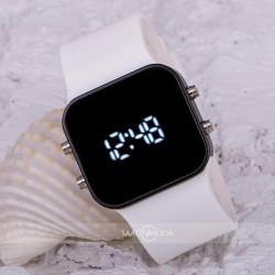 Beyaz Silikon Kordonlu Metal Kasa Unisex Model Dijital Led Kol Saat ST...