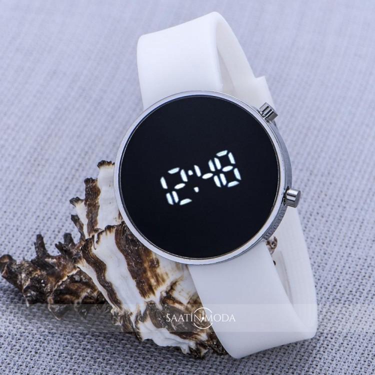 Beyaz Silikon Kordonlu Silver Metal Kasa Unisex Model Dijital Saat ST-303603