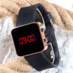 Dijital Bakır Mini Kasa Trend Seri Led Kol Saati Silikon Bileklik Saat...