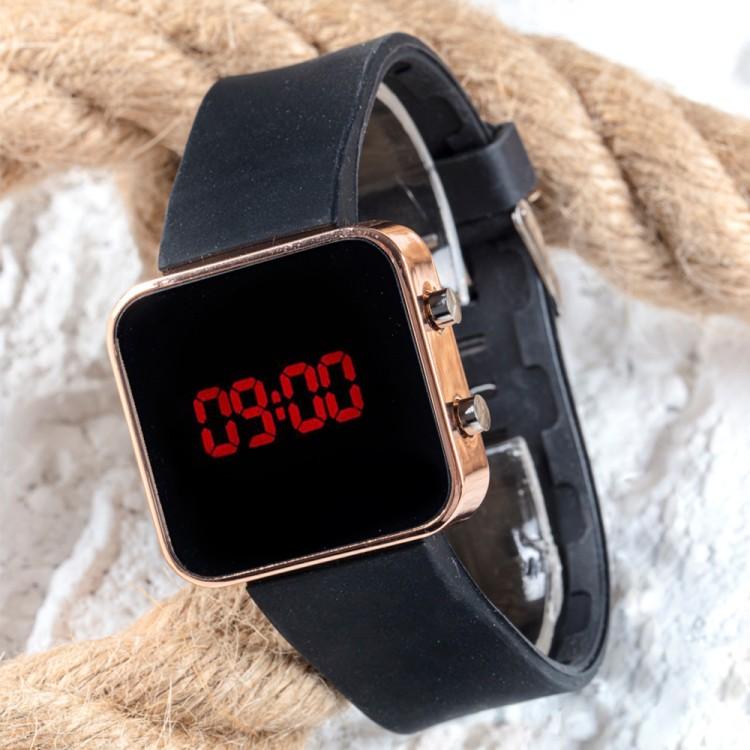 Dijital Bakır Mini Kasa Trend Seri Led Kol Saati Silikon Bileklik Saat