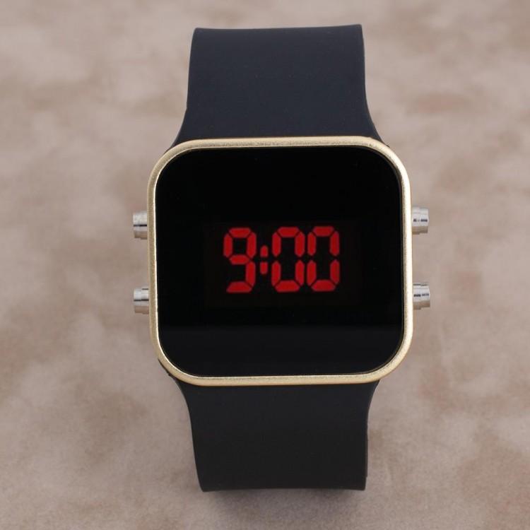 Dijital Gold Renk Kasa Led Kol Saati Silikon Bileklik Saat...