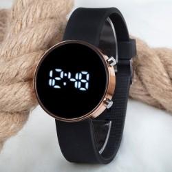 Dijital Led Watch Bakır Yuvarlak Kasa Siyah Silikon Kordon Unisex Kol ...