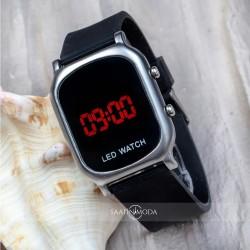 Dijital Led Watch Çocuk Kol Saat Gümüş Renk Kasa Siyah Silikon Kordon ...