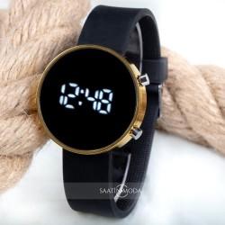 Dijital Led Watch Sarı Yuvarlak Kasa Siyah Silikon Kordon Unisex Kol S...
