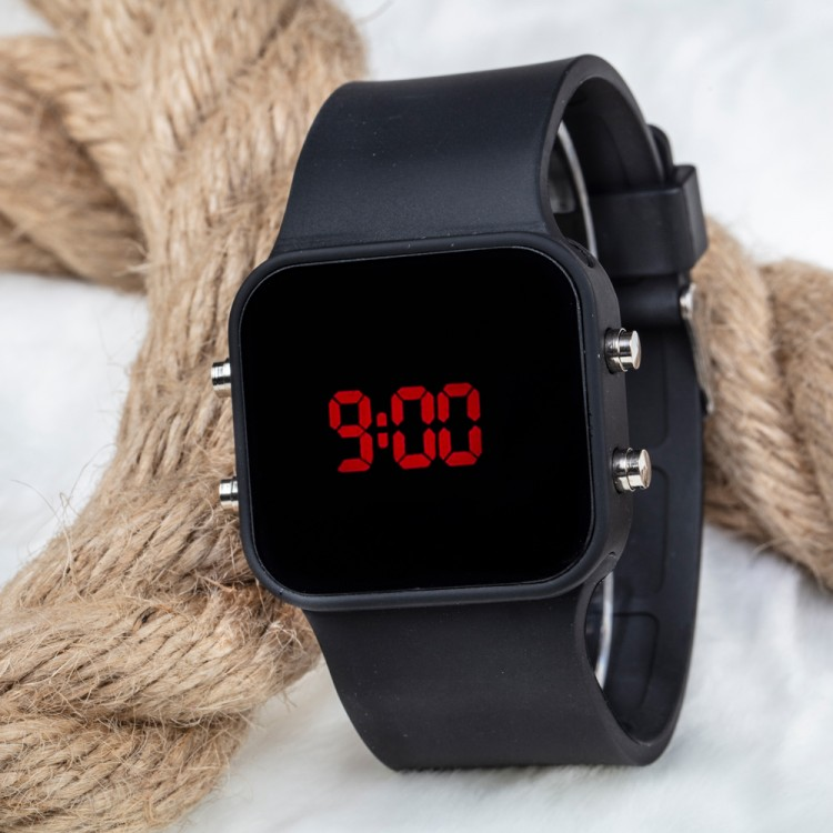 Dijital Mat Siyah Kasa Led Kol Saat Silikon Bileklik Yeni Model