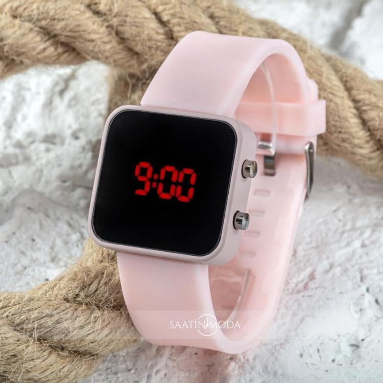 Dijital Pembe Renk Led Ekran Silikon Kordonlu Büyük Kız Genç Kadın Kol Saati ST-303757