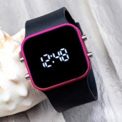 Dijital Spectrumwatch Fuşya Led Kol Saati Siyah Silikon Bileklik...