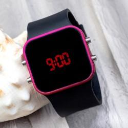 Dijital Unisex Fuşya Led Kadın Kol Saati Silikon Bileklik Saat...