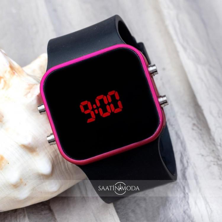 Dijital Unisex Fuşya Led Kol Saati Silikon Bileklik Saat ST-303401