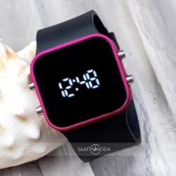 Dijital UNISEX Spectrumwatch Fuşya Led Kol Saati Siyah Silikon Bilekli...