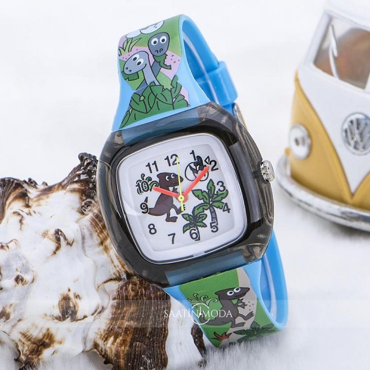 Dinazor Tasarımlı Yeşil Silikon Kordonlu Çocuk Saati ST-303601