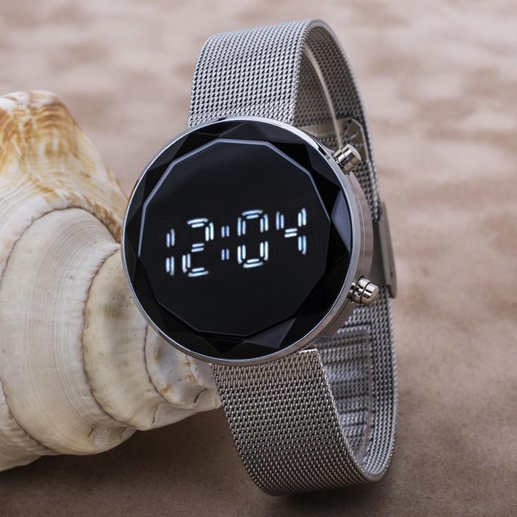 Gümüş Renk Hasır Kordon Led Watch Kesme Dijital Cam Bayan Kol Saati
