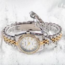 Gümüş Sarı Renk Çelik Kordonlu Taşlı Kasa Bayan Saat ve Taşlı Bileklik...