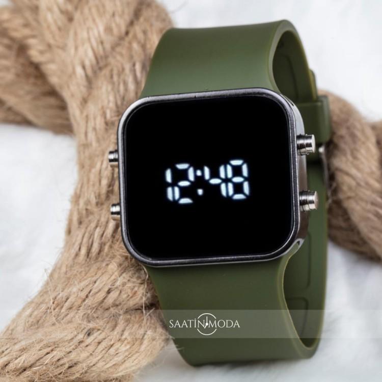 Haki Yeşil Silikon Kordon Unisex Dijital Led Kol Saati ST-303542