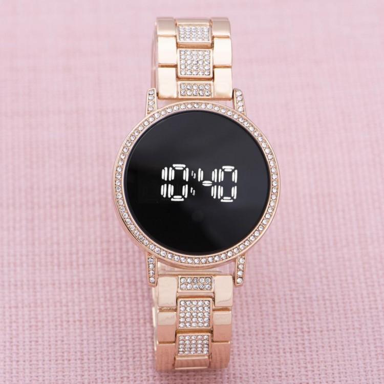 Kadın Çelik Dijital Led Dokunmatik Taşlı Yeni Model Kol Saat...