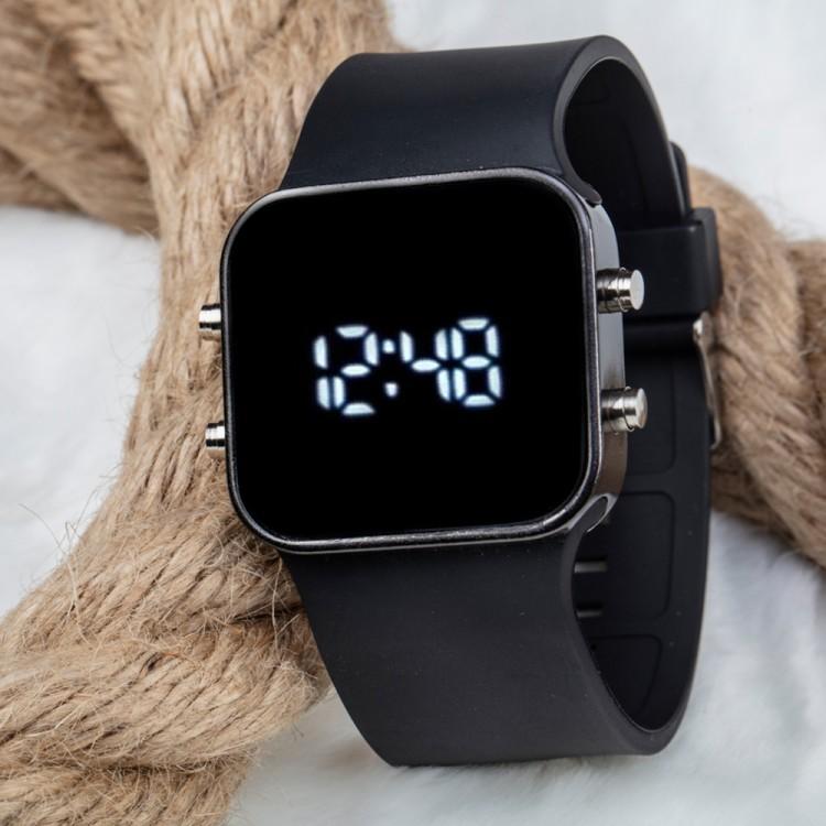 Kare Dijital Led Ekran Siyah Renk Silikon Kordonlu Unisex Sa...