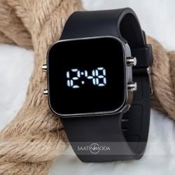 Kare Dijital Led Ekran Siyah Renk Silikon Kordonlu Unisex Saat ST-3035...