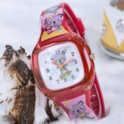 Koala Junior Temalı Kırmızı Renk Silikon Kordonlu Çocuk Saati...