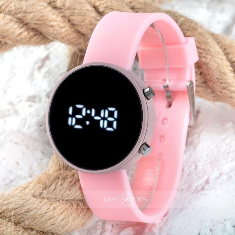 Led Watch Pembe Silikon Kordon Yetişkin Kız Kadın Saat ST-303770