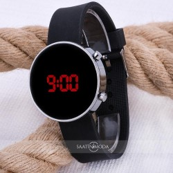 Led Watch Unisex Gümüş Renk Kasa Siyah Silikon Kordon Dijital Erkek Ko...