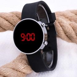 Led Watch Unisex Gümüş Renk Kasa Siyah Silikon Kordon Dijital Kol Saat...