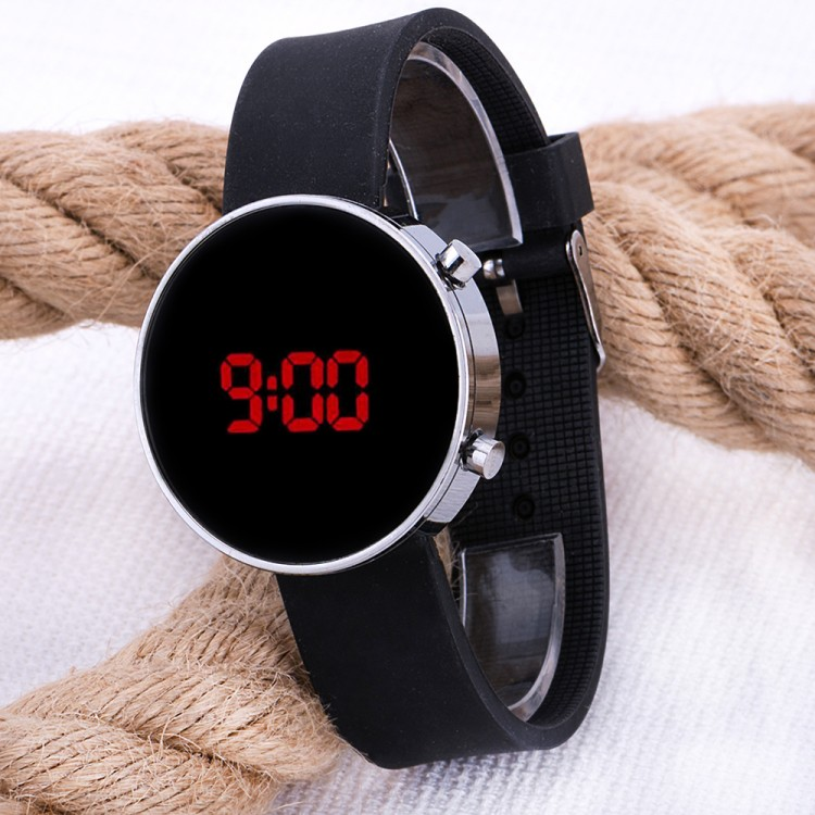 Led Watch Unisex Gümüş Renk Kasa Siyah Silikon Kordon Dijital Kol Saati