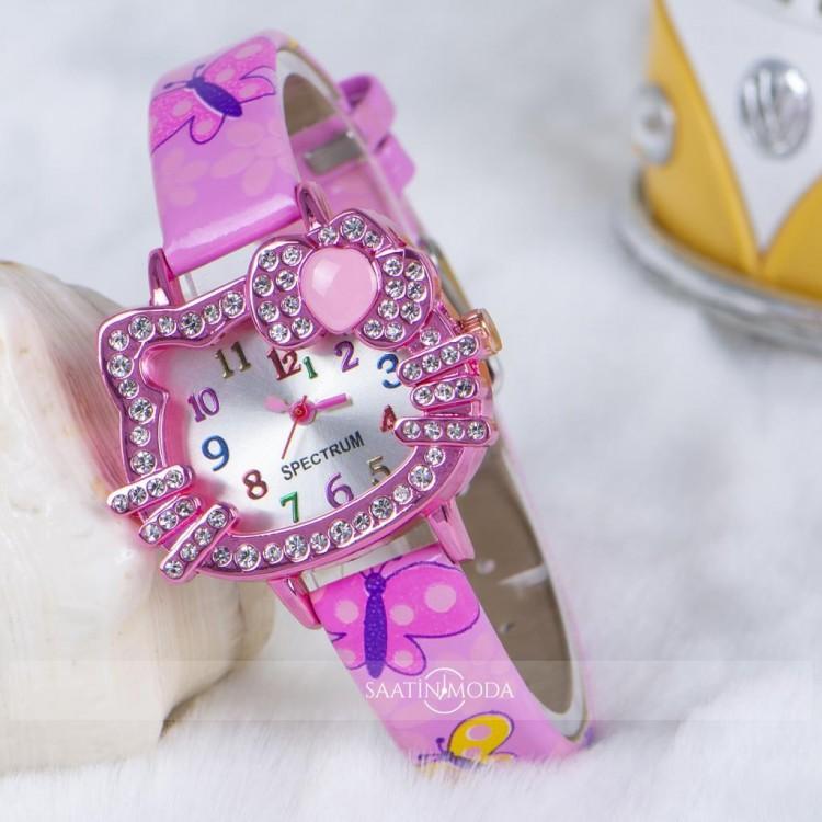 Pembe Deri Kordon Taşlı Kedi Kadran Kız Çocuk Kol Saati ST-303823
