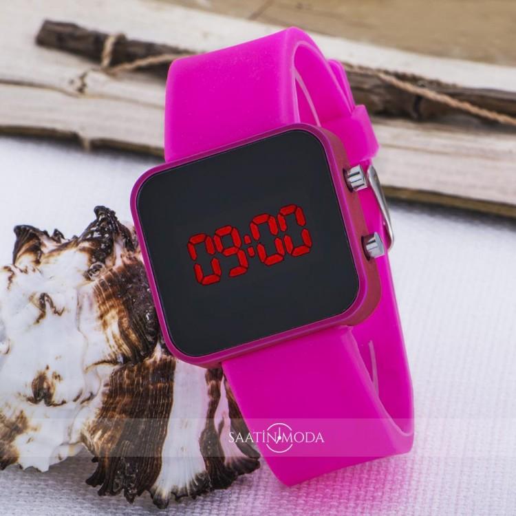 Pembe Kare Dijital Led Ekran Pembe Silikon Kordonlu Bayan Saat ST-303620