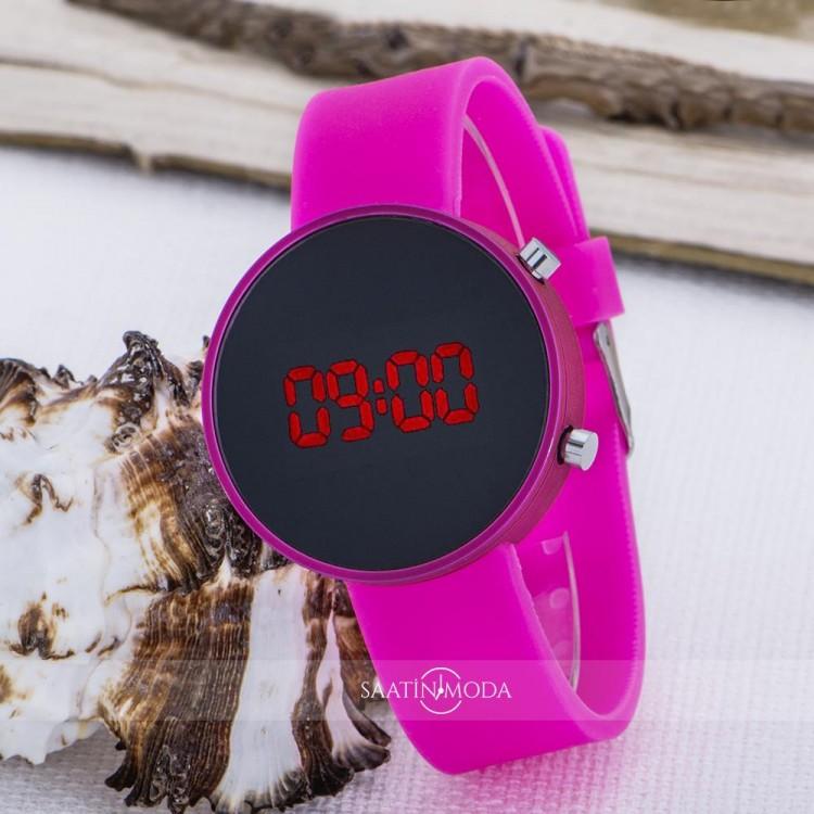 Pembe Yuvarlak Dijital Led Ekran Pembe Silikon Kordonlu Bayan Saat ST-303621