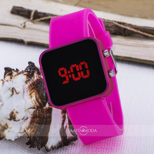 Pinkoli Kids Seri Pembe Renk Dijital Led Ekran Silikon Kordo...