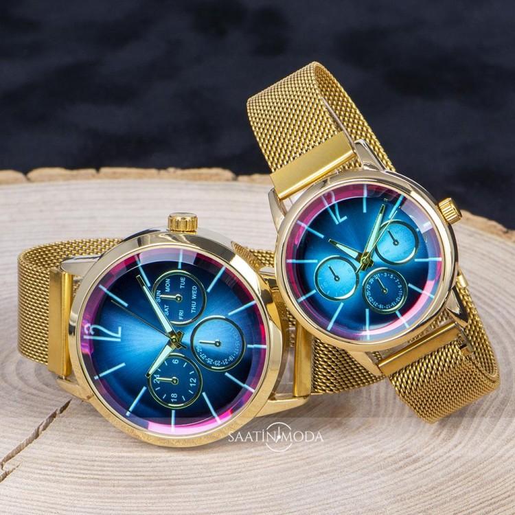Renkli Cam Mıknatıslı Kordon Sevgiliye Hediye Çift Saat Seti ST-303787