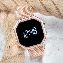 Rose Hasır Kordon Dijital Led Watch Yeni Sezon Unisex Bayan Kol Saati ...