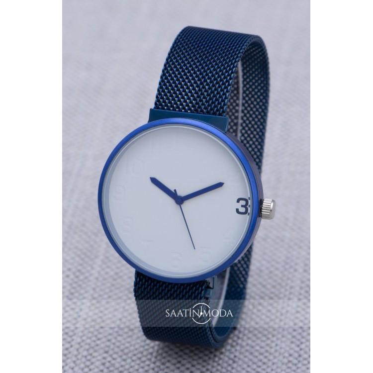 SaaTTino Lacivert Renk Mıknatıslı Hasır Kordon Unisex Kadın Saat ST-303854