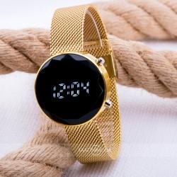 Sarı Hasır Kordon Led Watch Kesme Dijital Cam Bayan Kol Saati ST-30353...