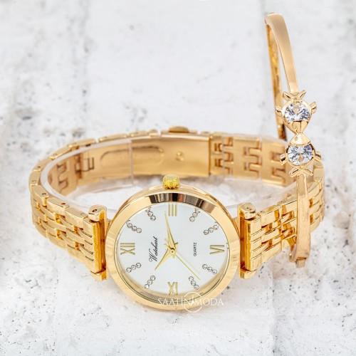 Sarı Renk Çelik Kordonlu Taşlı Kadran WatchArt Bayan Saat ve...