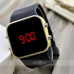 Sarı Renk Dijital Led  Bileklik Unisex Kol Saat Siyah Silikon Kordon Y...