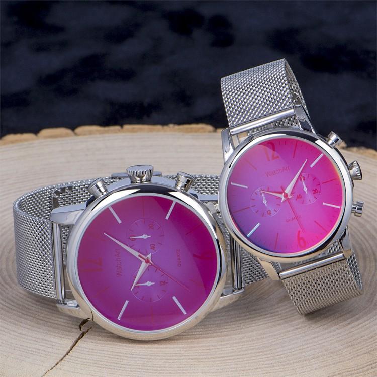 Sevgili Saatleri Çift Saatler Renkli Camlı Kadın Erkek Saatl...