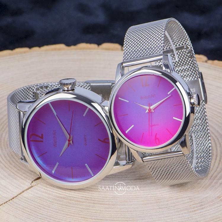 Sevgili Saatleri Renkli Cam Saat Kombinleri Erkek Bayan Çift Hediye ST-303781