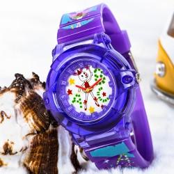 Şık Balerin Tavşan Tasarımlı Kadran Mor Silikon Kordonlu Çocuk Saati...