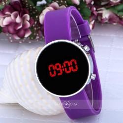 Şık Purple Mor Silikon Kordon Led Genç Kız Çocuk Kadın Kol Saati ST-30...
