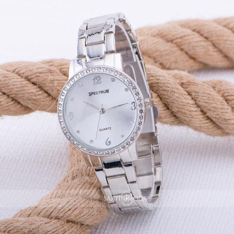 Silver Renk Çelik Kordonlu Taşlı Tasarımlı Spectrum Marka Unisex Kol Saati ST-303546